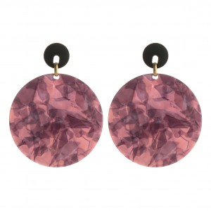 WENZHE Newest Style Texture Acrylic Geometric Round Drop Earrings