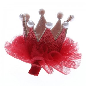 Fashion European and American Style Lace Solid Crown Princess Hairpin Children Hair Clips