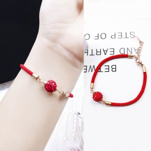 2019 new lucky gold and titanium steel red rope bracelet
