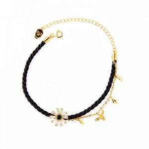 Black Rope Zircon Charm Copper Bracelet Jewelry For Girls Birthday Present