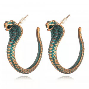 WENZHE Vintage Retro Strange African Tribal Animal Snake Stud Earrings for Women Jewelry