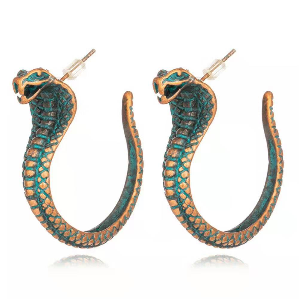 WENZHE Vintage Retro Strange African Tribal Animal Snake Stud Earrings for Women Jewelry Featured Image