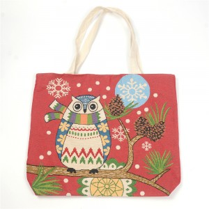 WENZHE Fashion Owl Cotton Handbags Canvas Tote Bags For Women