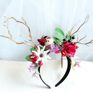 2019 Newest Design Halloween Festival Emulational Flower Animal Hair Bands With Antlers
