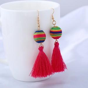 Fashion Bohemian Thread Ball Dangle Earrings Long Tassel Drop Earrings for Women Boho Colorful Charm Jewelry Wholesale