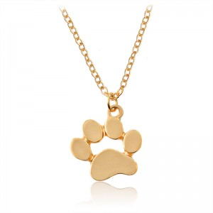 New Arrival Cat Dog Paw Print Animal Necklace Women Pendant Long Cute Necklace