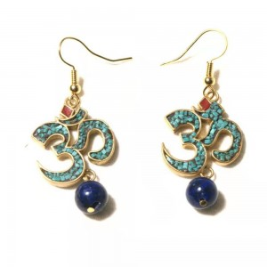 WENZHE Vintage Women Nepalese Buddhism Religious Lapis Drop Earrings