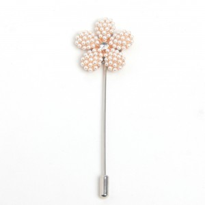 WENZHE Gold Crystal Pearls Flower Brooches