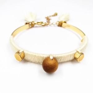 New Fashion Handmade Jewelry Bangles Cotton Thread Braided Macrame Wooden Beads Tassel Bracelet