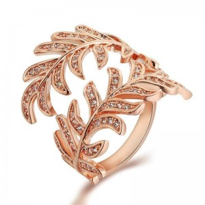 Yiwu jewelry manufacturer shine zircon gold plated leaf wrap ring