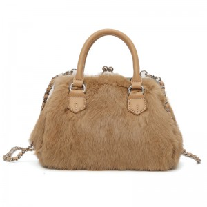 Newest Style Luxury Real Rabbit Fur Women Handbag Tote Bag