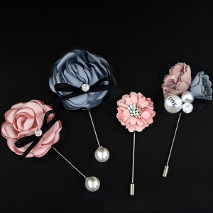 Rose flower brooch fabric flower long pin suit with accessories small daisy pearl brooch pin