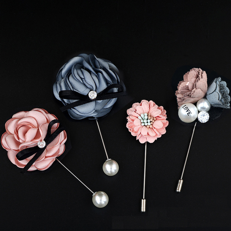 Rose flower brooch fabric flower long pin suit with accessories small daisy pearl brooch pin Featured Image