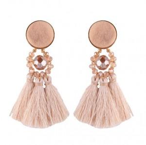 Latest Products In Market Bohemia New Model Crystal Bead Long Tassel Handmade Earrings