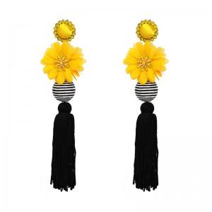 New arrival bohemian ethnic style long tassel earrings flower thread ball tassel boho earrings
