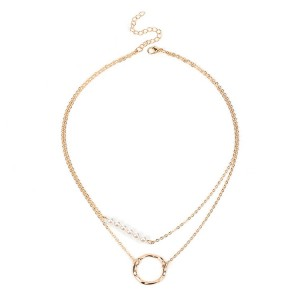Wholesale Multi-layer Choker Necklace Pearl Geometric Circle Clavicle Necklace
