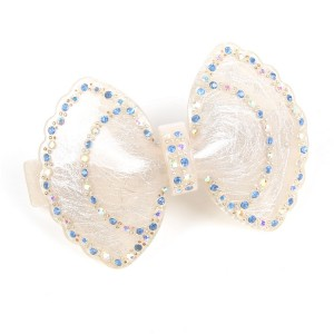 WENZHE Hot Acrylic Hairpin Rhinestone White Bowknot Hair Clips Accessories For Girls