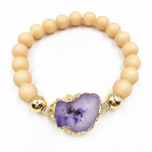 Fashion jewelry Irregular Natural Stone Druzy Frosted Beaded Bracelet For Women
