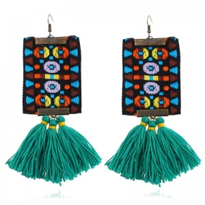 Vintage boho ethnic style embroidery thread green tassel earring for women