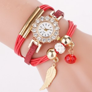Best Quality Fashion 3 Circles Wrap lady leaf pendant bracelet watch Quartz Watch