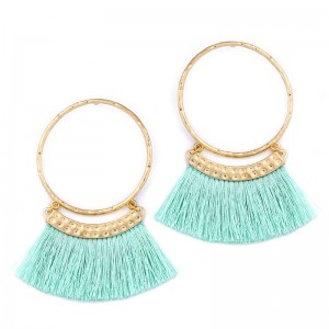Wholesale Latest Custom New Design Geometric Multicolor Tassel Hoop Earrings