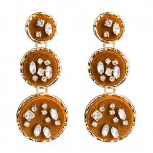 Boho style velvet earrings fashion earring designs new model crystal earrings
