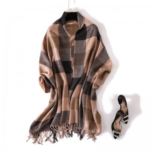 WENZHE Winter Tassel Fringe Geometric Plaid Shawl Cardigan Women Warm Casual Autumn Long Cape Scarf