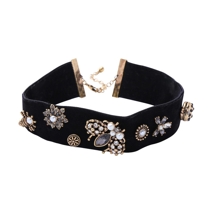 New Chic Bee Insect Velvet Choker Necklace Antique Jewellery Featured Image