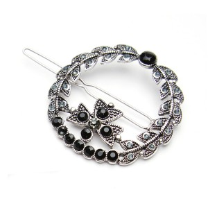 WENZHE newest design luxury hairpin adult black onyx and crystal hair clip
