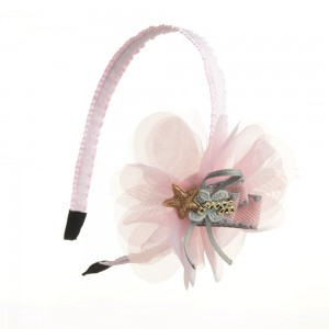 WENZHE High Quality Pink Lace Flower With Star Headbands For Little Girls