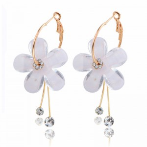 Fashion flower petal alloy acrylic diamond earrings jewelry accessories