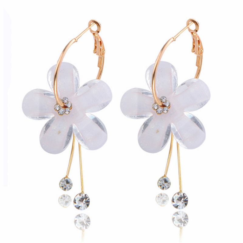 Fashion flower petal alloy acrylic diamond earrings jewelry accessories Featured Image