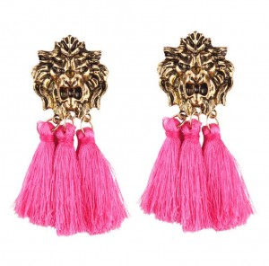 Unique products retro alloy lion head with tassel pendant fashion earring charm jewelry