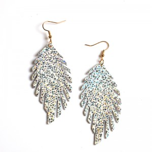 WENZHE New Vintage Leaf-Shaped Leather Sequin Drop  Earrings