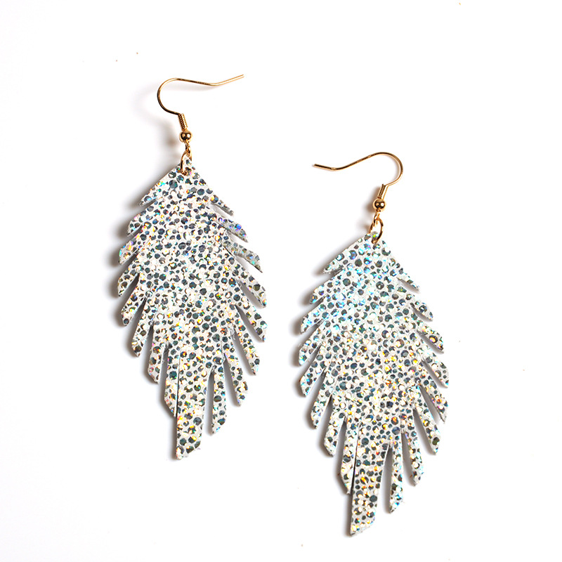 WENZHE New Vintage Leaf-Shaped Leather Sequin Drop  Earrings Featured Image