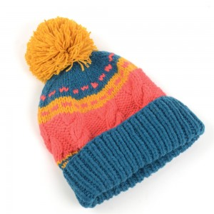 WENZHE Simple Multicolor Knit Pompom Winter Cuffed Beanie Hat for Women