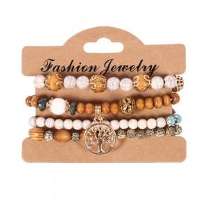 Wooden Bead Set Chain Bracelet Alloy Rose Hand Bracelet