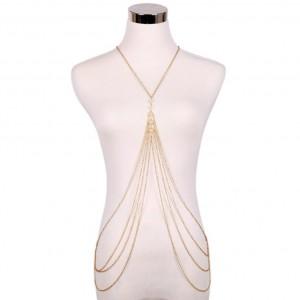 Girls Multi Layer Pearl Tassel Jewelry Bikini Swimwear Accessory Body Chain Dress