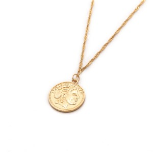 WENZHE Custom Design Gold Round Coin Pendant Long Chain Necklace for Women