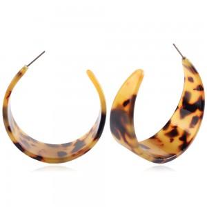 New Arrival Geometric Semi Circle Earring Tortoise Resin Hoop Earrings