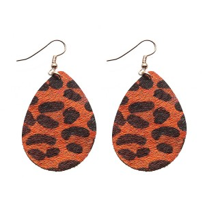 New Fashion Leopard Leather Teardrop Earrings Wholesale