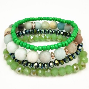 Hot Sell Natural Stone Crystal Bead Bracelet Set Druzy Charm Stone Diy Beads Bracelet Set