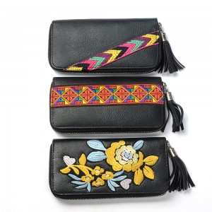 WENZHE PU Leather Purse Black Tassel Women Ladies Embroidered Long Clutch Wallet