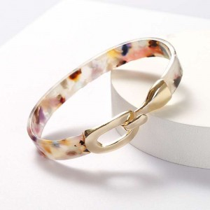 WENZHE Trend custom new acrylic acetate plate open bracelet alloy metal buckle female bracelet
