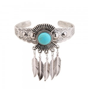 WENZHE New Design Antique Silver Turquoise Cuff Bracelets Leaves Tassel Bangle Popular Jewelry