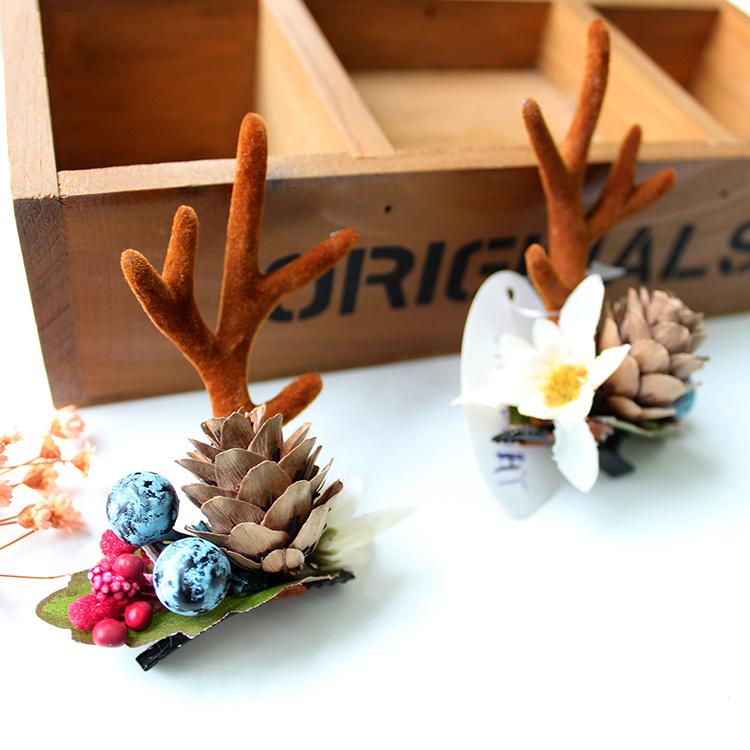 Fashion-Design-Handmade-Antler-Hairclips-Christmas-Pine (1)