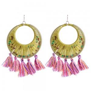 High Quality Handmade Jewelry Fashion Lady Gold Plated Circle Drop Tassel Earrings