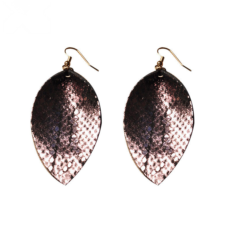 WENZHE New design Leather PU Leaf Shaped Fashion Earring New Model Leather Earring Featured Image