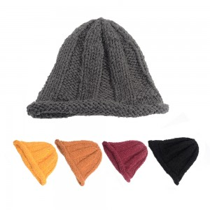 WENZHE New Design Cute Winter Wool Lady Warm Hat Knitted Bucket Hat