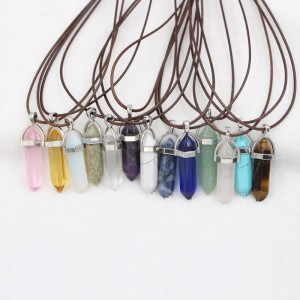 Custom Made Natural Stone Bullet Shaped Pendant Necklaces Turquoise Crystal Stone Pendant Necklace Women Jewelry